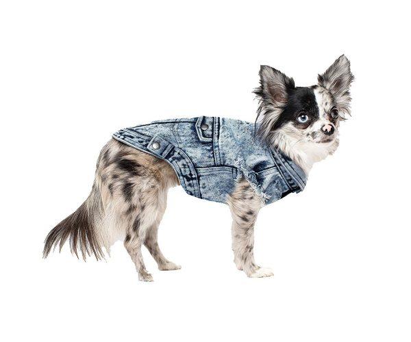 canada pooch denim dog vest blue or pink