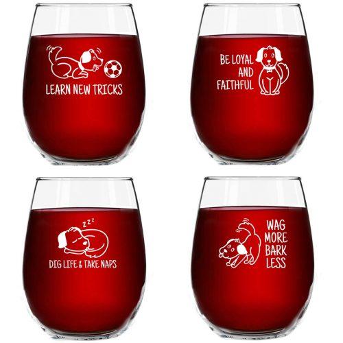dog themed wine glasses