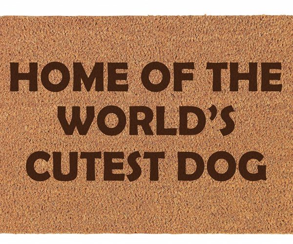 home of worlds cutest dog doormat