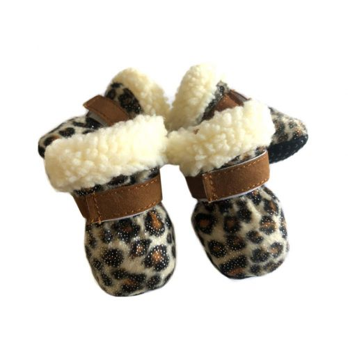leopard print dog snow booties